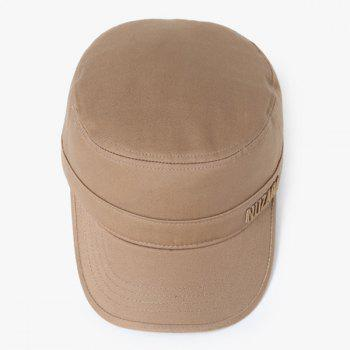 Unique Letter Embroidery Flat Top Hat - KHAKI