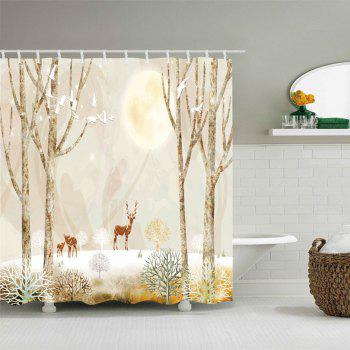 Elk on Snowfield Print Waterproof Fabric Bath Shower Curtain - LIMEADE W71 INCH * L79 INCH