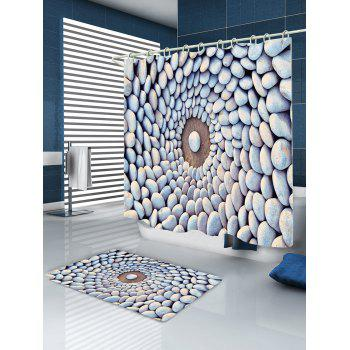 Layered Stone Circle Waterproof Fabric Bath Shower Curtain - COLORMIX W59 INCH * L71 INCH