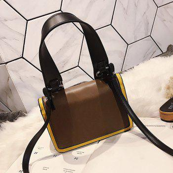 Flap Contrasting Color Crossbody Bag with Handle - COFFEE