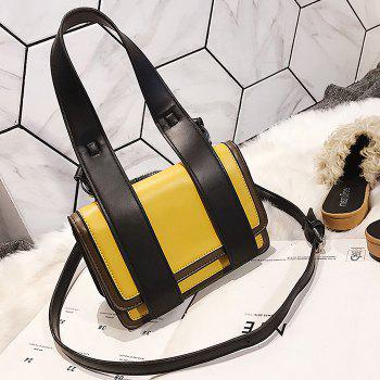 Flap Contrasting Color Crossbody Bag with Handle - YELLOW