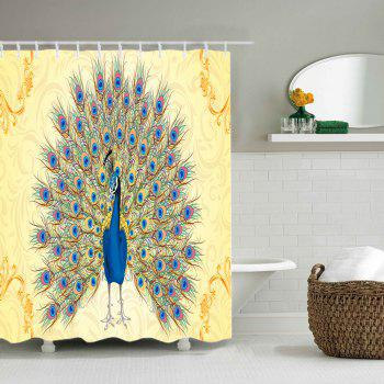 Peacock Print Waterproof Shower Curtain - COLORMIX W71 INCH * L71 INCH