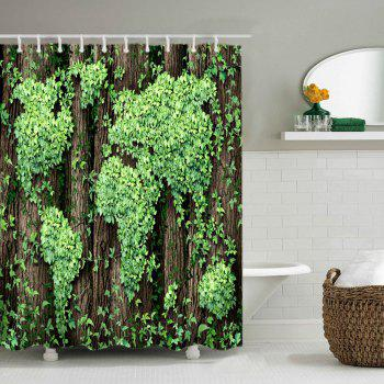 Leaves Cluster Print Fabric Waterproof Shower Curtain - GREEN W59 INCH * L71 INCH