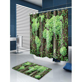 Leaves Cluster Print Fabric Waterproof Shower Curtain - GREEN W71 INCH * L71 INCH