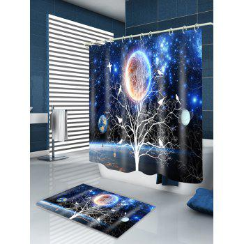 Solar System Tree Print Waterproof Bathroom Shower Curtain - BLUE W59 INCH * L71 INCH