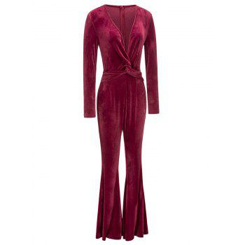 Twist Plunging Neck Flared Leg Jumpsuit - RED M
