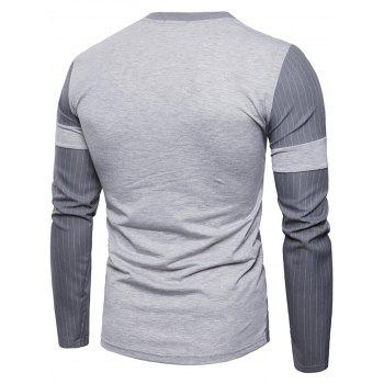 Panel Design Vertical Stripe T-shirt - GRAY L
