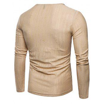Long Sleeve Zipper Distressed T-Shirt - KHAKI L