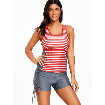 U Neck Striped Tankini Set - COLORMIX 2XL