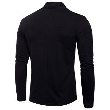 T-shirt de conception drapé pur de cardigan - Noir 2XL