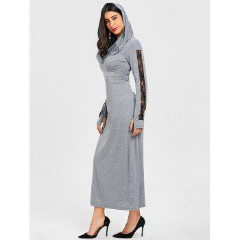 Convertible Collar Bodycon Maxi Dress - GRAY M