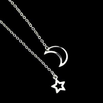 Moon Star Chain Pendant Necklace - SILVER
