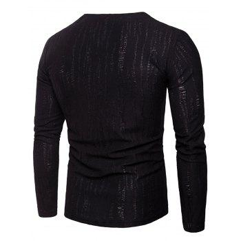 Long Sleeve Zipper Distressed T-Shirt - BLACK 3XL