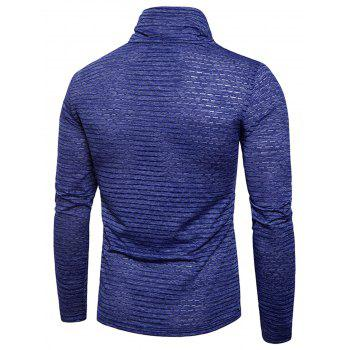 Turtle Neck Stripe Jacquard T-shirt - BLUE 2XL