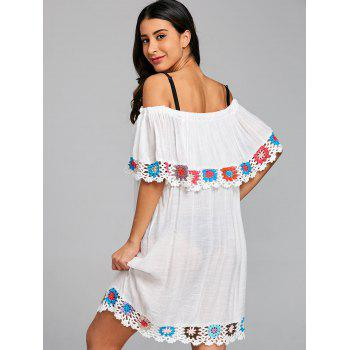 Off Shoulder Crochet Panel Cover Up Dress - WHITE ONE SIZE
