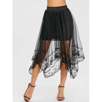Asymmetric Lace Trimmed Tulle Skirt - BLACK ONE SIZE