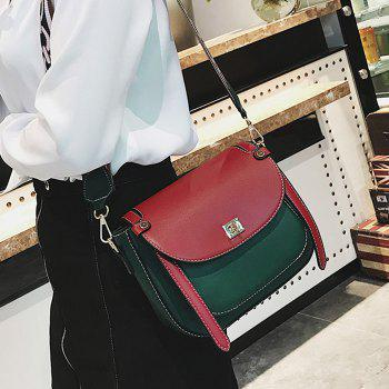 Flap Stitching Contrasting Color Crossbody Bag - GREEN