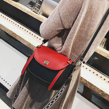 Flap Stitching Contrasting Color Crossbody Bag - BLACK