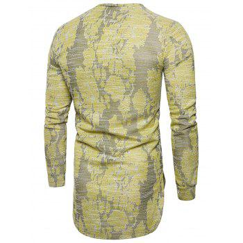 Long Sleeve Longline Jacquard T-shirt - YELLOW 3XL