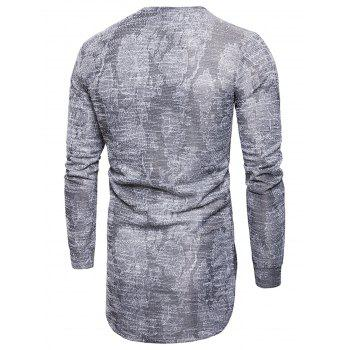 Long Sleeve Longline Jacquard T-shirt - GRAY 3XL