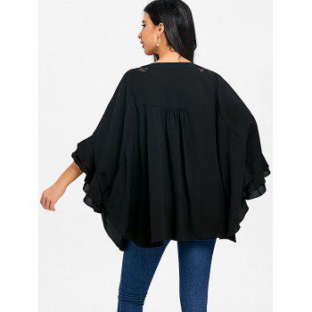 Batwing Sleeve Lace Panel Tunic Blouse - BLACK L