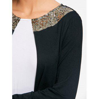 Two Tone Sequins Asymmetrical T-shirt - WHITE/BLACK 2XL