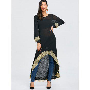 Embroidery High Low Long T-shirt - BLACK XL