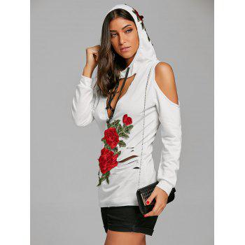 Open Shoulder Embroidery Distressed Hoodie - WHITE S
