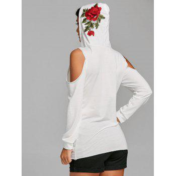 Open Shoulder Embroidery Distressed Hoodie - WHITE XL
