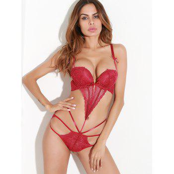 Lace Strappy Bandage Lingerie Bodysuit - RED L