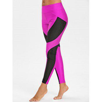See Through Workout Leggings with Mesh Insert - ROSE RED M