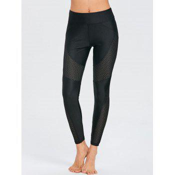 See Through Workout Leggings with Mesh Insert - BLACK XL