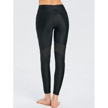 See Through Workout Leggings with Mesh Insert - BLACK S