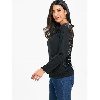 Open Back Sheer Lace Insert T-shirt - BLACK M
