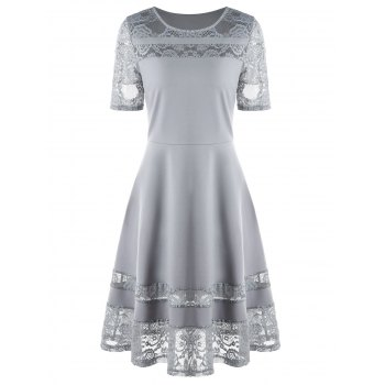 Lace Insert A Line Party Dress - GRAY M