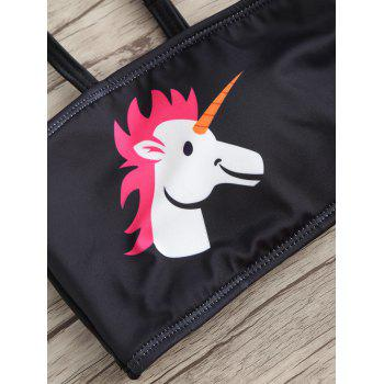 Unicorn Cheeky Tube Bikini Set - BLACK/ROSE RED S