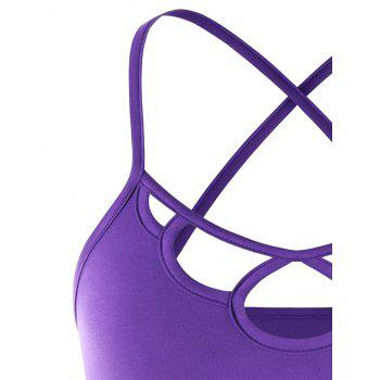 Strappy Hollow Out Crisscross Cropped Cami Top - PURPLE M