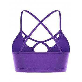 Strappy Hollow Out Crisscross Cropped Cami Top - PURPLE L