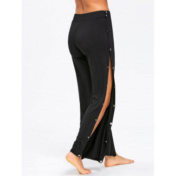 Snap Button Side Casual Pants - BLACK L