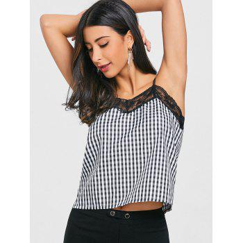 Lace Trimmed Plaid Cami Strap Tank Top - BLACK PLAID L