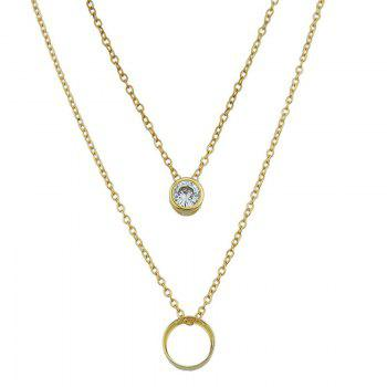 Rhinestone Circle Layered Pendant Necklace - GOLDEN