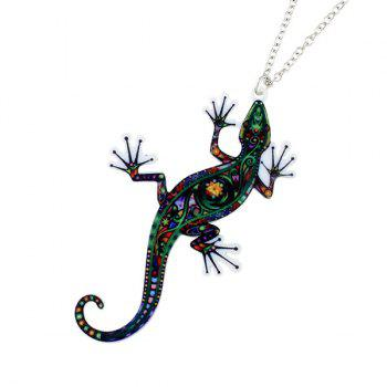 Statement Lizard Pendant Necklace and Earring Set - SILVER