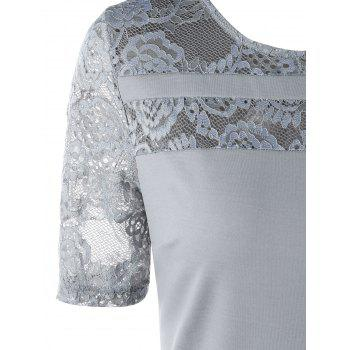 Lace Insert Party A Line Dress - GRAY XL