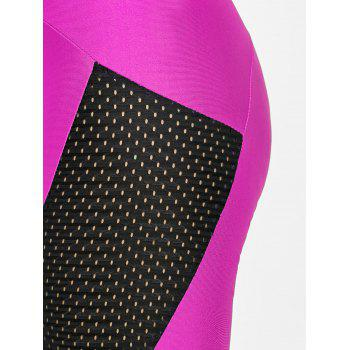 See Through Workout Leggings with Mesh Insert - ROSE RED XL