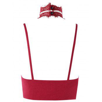 Choker Lace Cropped Cami Top - WINE RED M