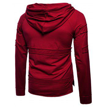 Pouch Pocket Panel Design Pullover Hoodie - WINE RED L