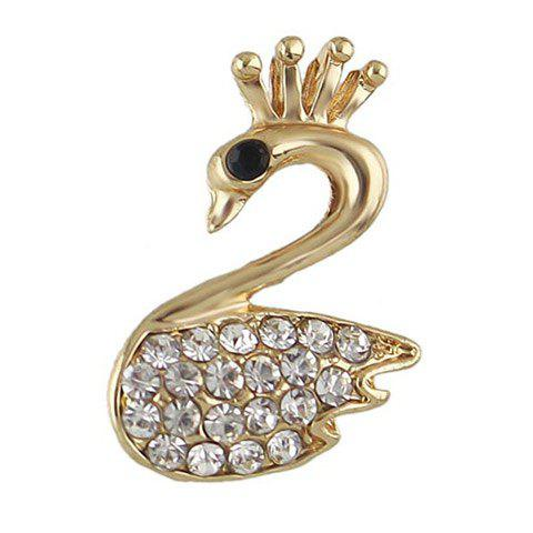 Broche Epingle Paon en Strass - d/ ;or