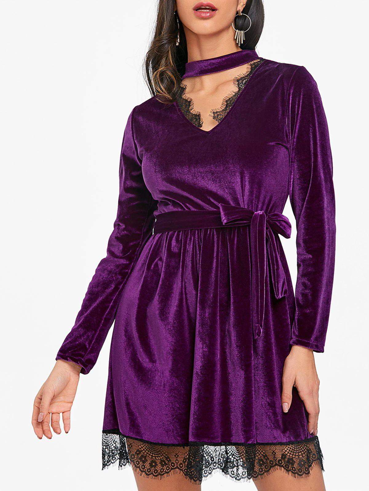 Lace Ttrimmed Belted Velvet Dress - PURPLE L