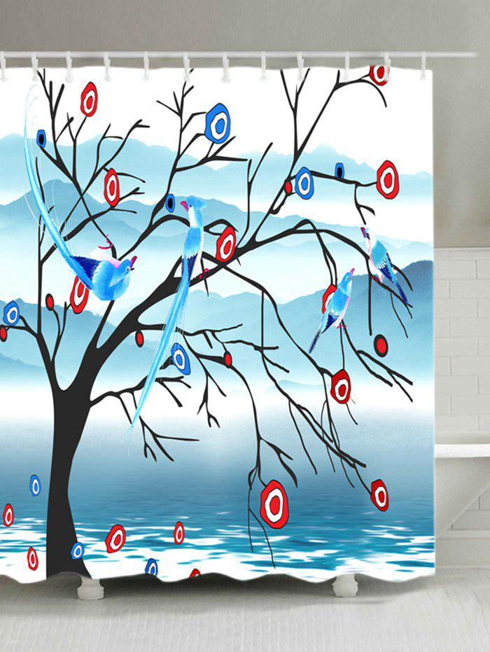 Waterproof Birds Singing in Tree Print Shower Curtain - COLORMIX W71 INCH * L71 INCH