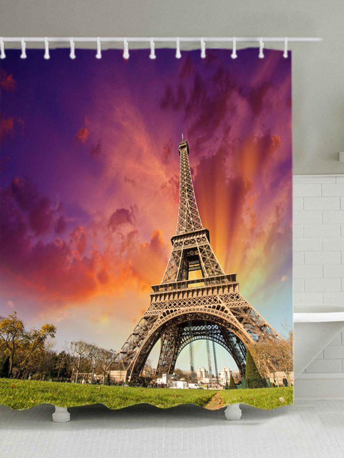 Eiffel Tower at Dusk Print Bath Shower Curtain - MANDARIN W71 INCH * L71 INCH